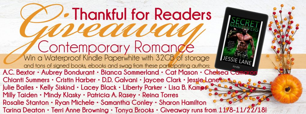 Thankful for Readers Giveaway Banner Contemporary 3