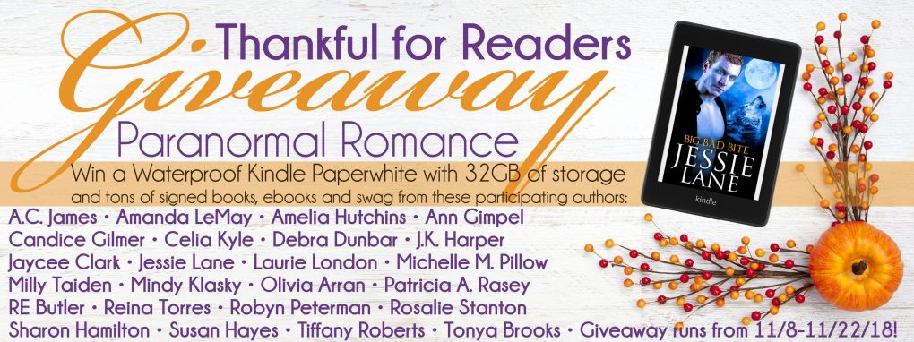 Thankful for Readers Giveaway Banner Paranormal